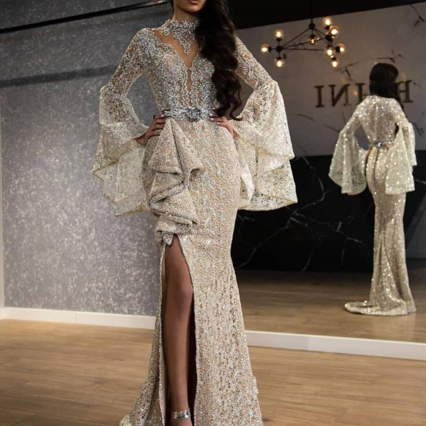 Dubai Arabic Women Evening Dress 2020 Luxury Lace Beading Ruffled Long Sleeves Mermaid Prom Dresses Long High Split Formal Gowns