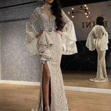 Dubai Arabic Women Evening Dress 2020 Luxury Lace Beading Ru