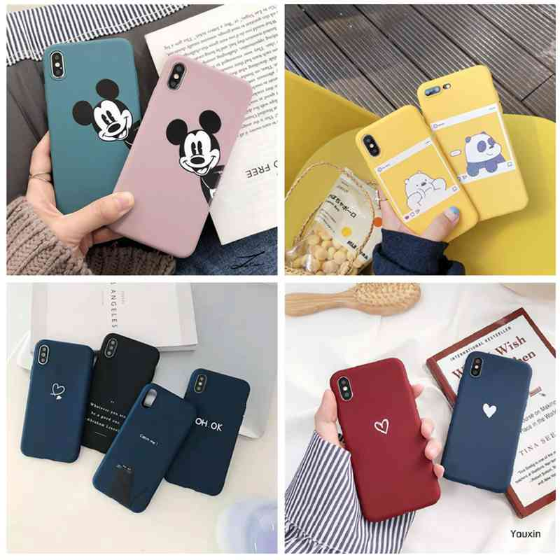 Cute Cartoon <font><b>Case</b></font> For <font><b>Samsung</b></font> Galaxy A50 A505F 2019 <font><b>Cases</b></font> Love Heart Couples Silicon Soft Back Cover For <font><b>Samsung</b></font> A30 A20 <font><b>A10</b></font> image