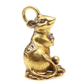 2020 new year gift Lucky mouse rat year Desk decor Copper Wealth Rats Figurines