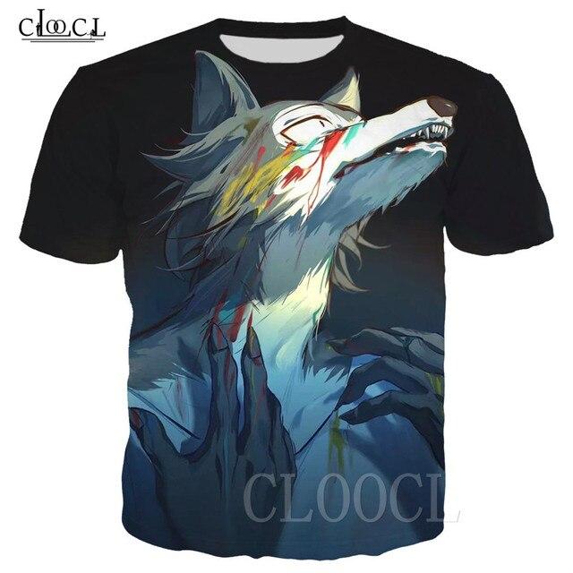BEASTARS קריקטורה אנימה לבן חולצה חולצות סוודרי 3D זאב בעלי החיים מודפס גברים/נשים טי חולצה Harajuku גדול T חולצה