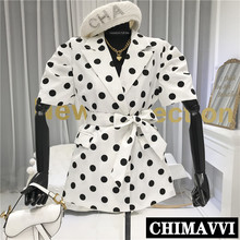 2020 Summer New Retro Polka Dot Short-Sleeved Suit Dress Women's Elegant Slimmin