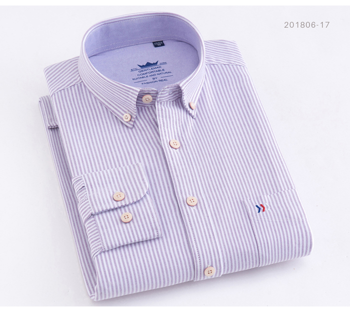 H9b84da32065040469c73a87bded4667f6 - Men's Casual 100% Cotton Oxford Striped Shirt Single Patch Pocket Long Sleeve Standard-fit Comfortable Thick Button-down Shirts