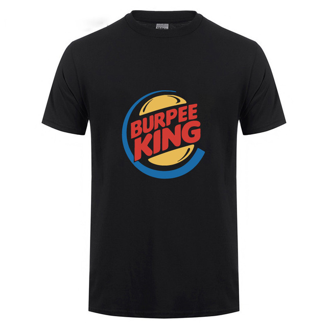 Burpee King T-shirt Funny Birthday Gift For Boyfriend Husband Dad Men Summer Short Sleeve Cotton Crossfit Workout  T Shirts