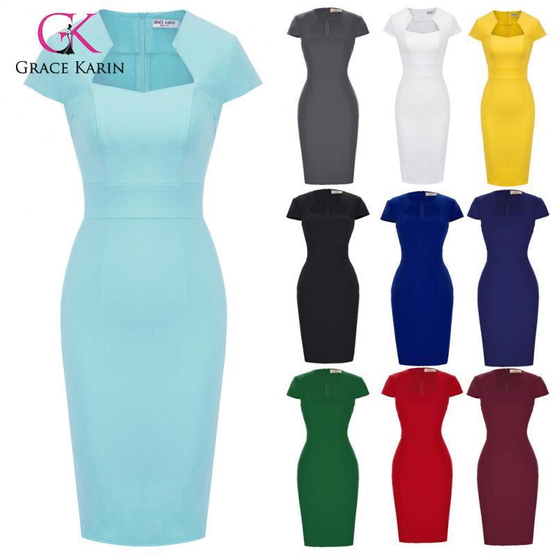 Grace Karin Summer Dress Vintage Dresses Vestidos 2020 V Neck Short Vintage Office Dress Bodycom Celebrity Party Dress
