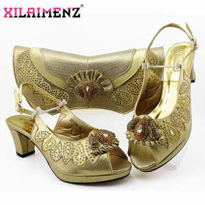 Image 4 - Latest Dark Green Color Matching Shoes and Bag Set for Italian Party Nigerian Ladies Mature Style with Crystal Shoes and Bag Set