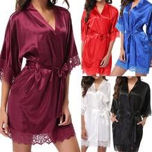 Women Sexy Silk Night Home Clothing Pajama Sleepwear Satin Lace Pajamas PyjamasSleep Lounge Pijama