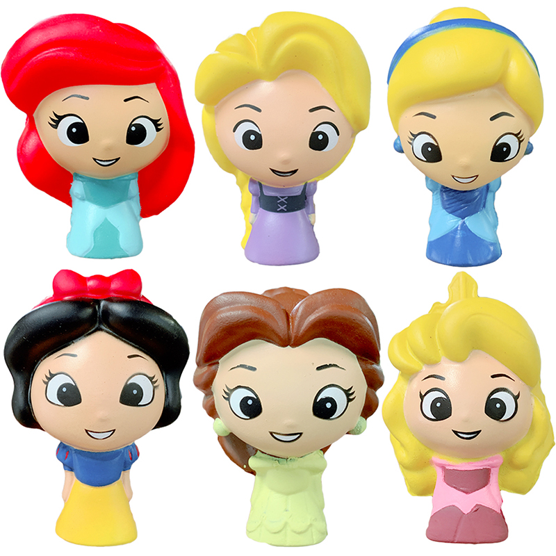 6pcs Children Princess Squishy Snow White Doll Kawaii Slow Rising Soft Bread Scented Squeeze Toy Stress Relief Fun For Kid Gift