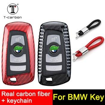 Funda de llave a distancia de fibra de carbono compatible con BMW F05 F10 F20 F30 Z4 X1 X4 X6 M1 M3, llavero para coche