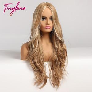Image 2 - זעיר לנה ארוך גלי בלונד סינטטי פאות עם הבהרה התיכון חלק לנשים אפרו קוספליי טבעי שיער חום עמיד סיב
