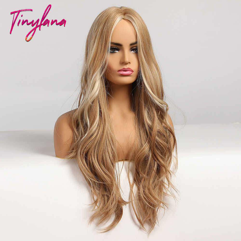 Kecil LANA Panjang Sintetis Wig Ombre Coklat Rambut Pirang Bagian Tengah Tahan Panas Bergelombang Wig untuk Wanita Pesta Cosplay