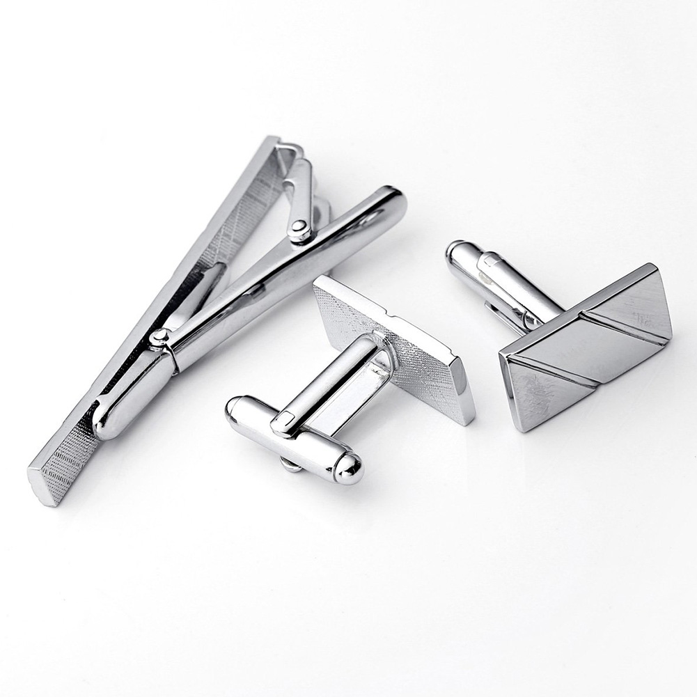 Adult Gift Portable Accessories Casual Cufflink Set Shirt Jewelry Business Wedding Party Sturdy Tie Clip Striped Decoration