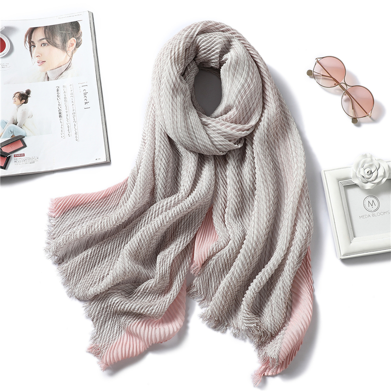2020 New Design Solid Women Scarf Crinkle Hijabs For Lady Fold Shawls And Wraps Winter Lady Heandband Neck Warm Scarves Foulard