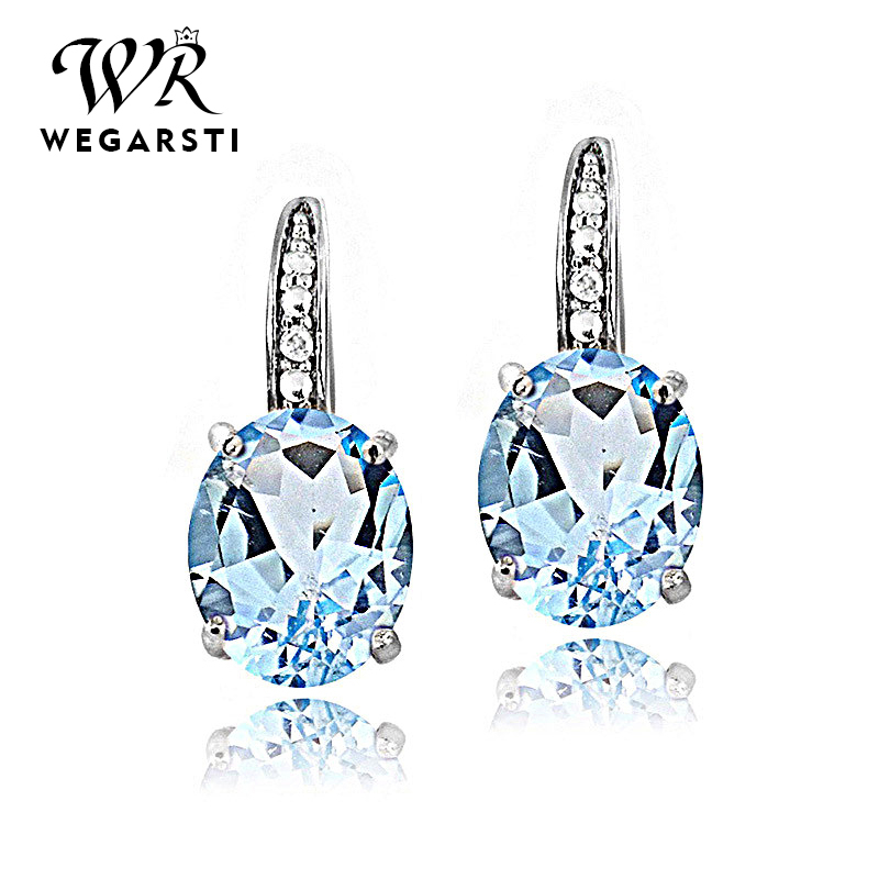 WEGARASTI Silver 925 Jewelry Earrings Trendy Round Topaz Earring For Women Party Valentines 925 Sterling Silver Earring Gifts