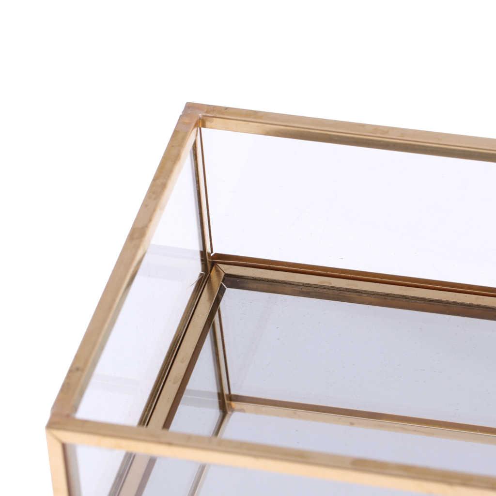 Geometris Kaca Perhiasan Tray Makeup Pemegang Organizer Terarium Sukulen Tanaman Rumah Dekorasi Meja
