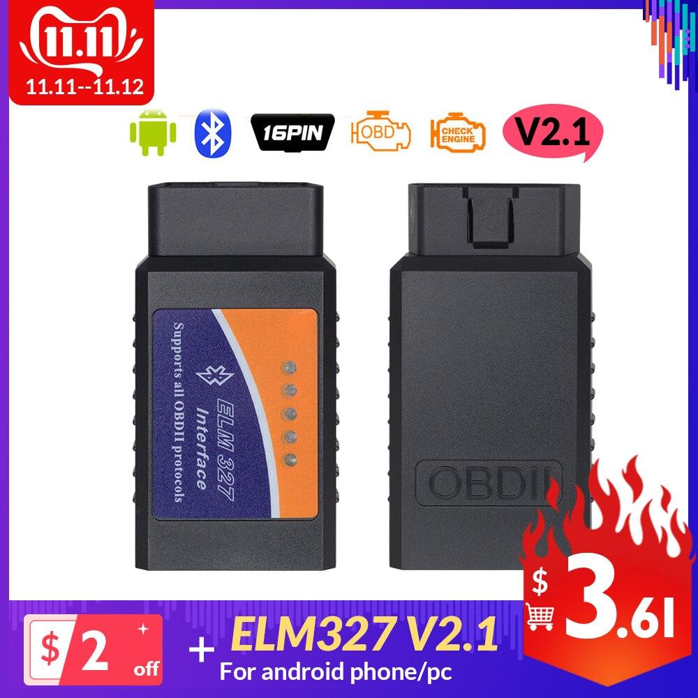 ELM327 V2.1 Bluetooth OBDII Auto Scanner ELM 327 Bluetooth V 2.1 OBD2 For Android On Torque Support 12V CAR OBD Diagnostic Tool
