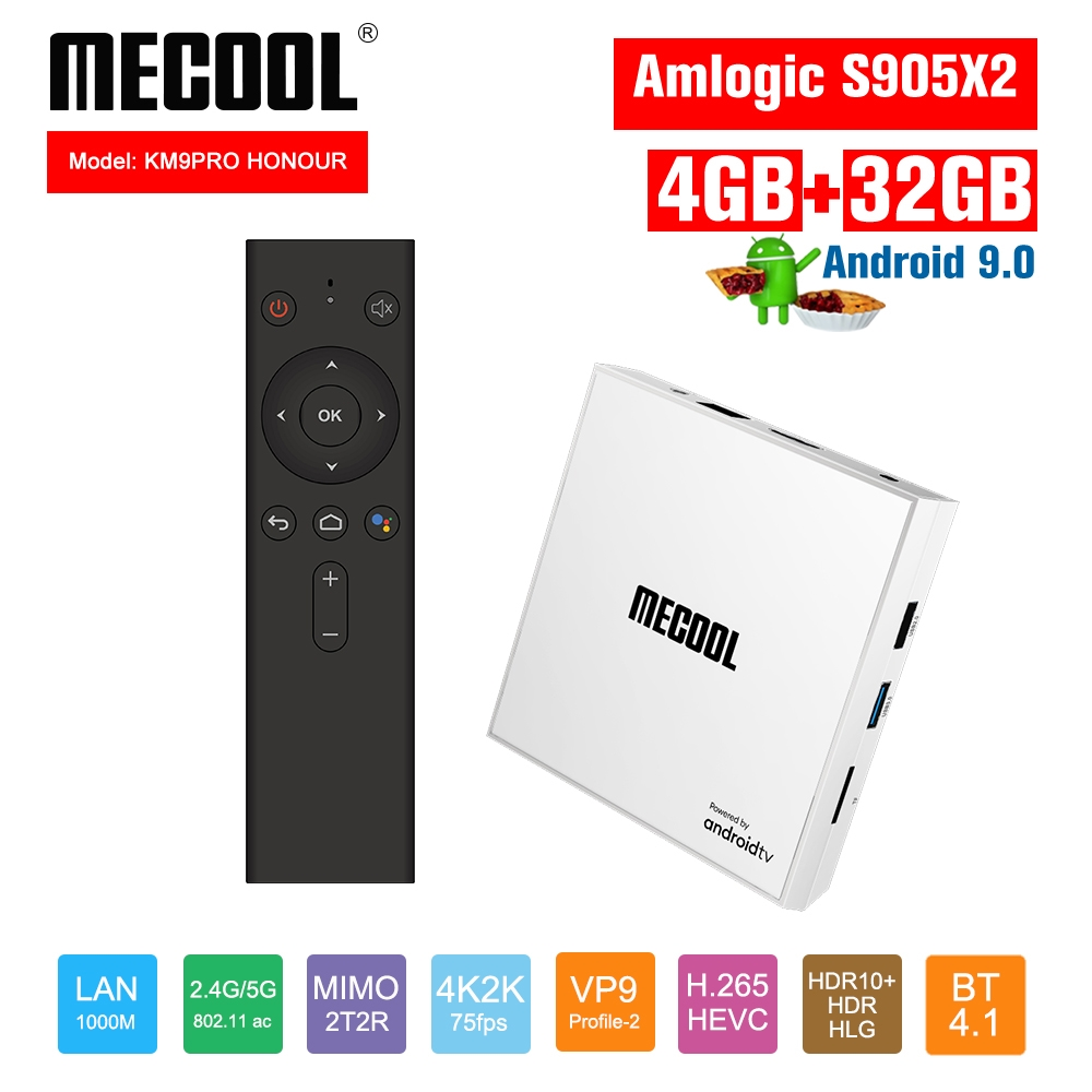 <font><b>Mecool</b></font> <font><b>KM9</b></font> PRO HONOUR <font><b>TV</b></font> <font><b>Box</b></font> <font><b>Android</b></font> 9.0 4G 32G Console Amlogic <font><b>S905X2</b></font> USB3.0 4K HDR 2.4G/5G Dual WIFI BT 4.1 Set Top <font><b>Box</b></font> image
