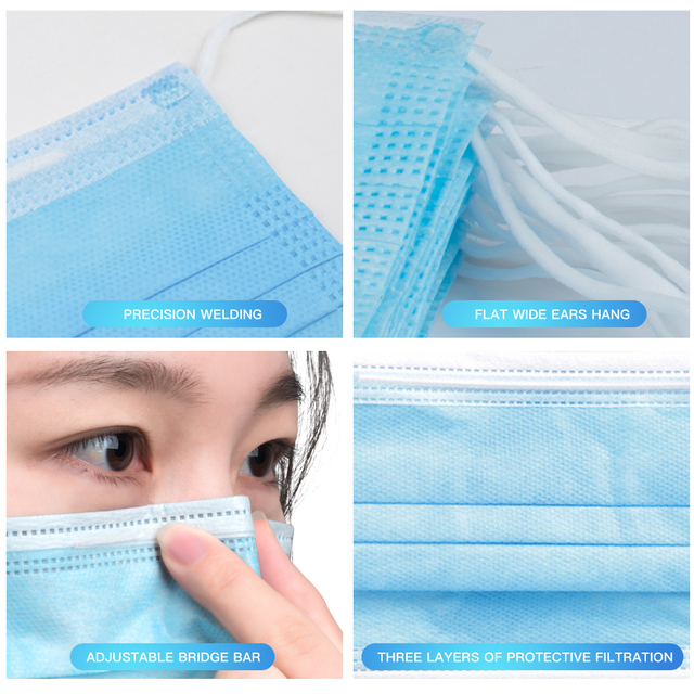Face Mouth Masks Respirator 3-layer Antiviral Protection Flu Facial Mask Influenza Earloop Non Woven Mouth Dust Mask 3