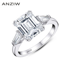 Anziw изумрудная огранка обручальное кольцо для женщин 3 каменное