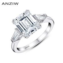 ANZIW zümrüt kesim nişan yüzüğü kadınlar için 3 taş yüzük alyans 925 ayar gümüş söz yüzüğü moda hediyeler takı