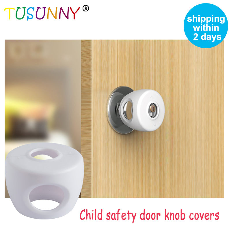 TUSUNNY 4PCS Wholesale Baby Safety Rubber Door Knob Covers Door Security Closer Babies Soft Door Knob Covers Lock From Children