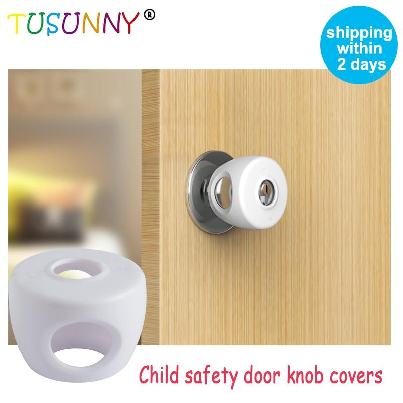 TUSUNNY 4PCS Wholesale Baby Safety Rubber Door Knob Covers Door Security Closer Babies Soft Door Knob Covers Lock From Children