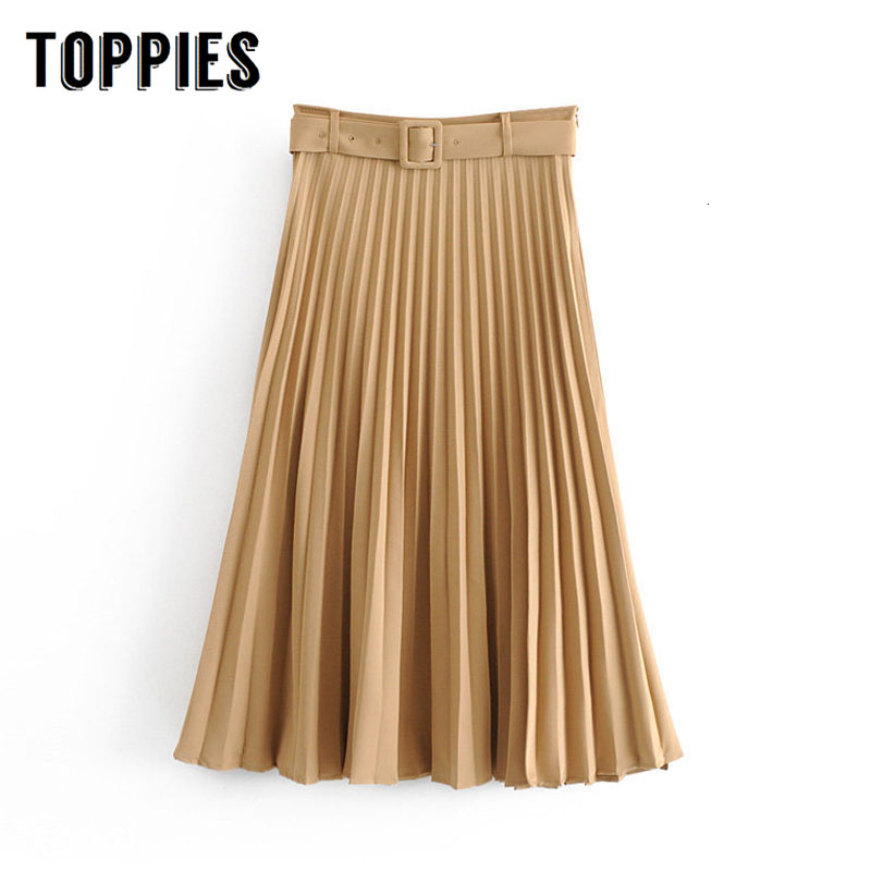 Pleated Skirts Ladies Office A-line Long Skirts Womens High Waist Faldas Streetwear 2019 Autumn