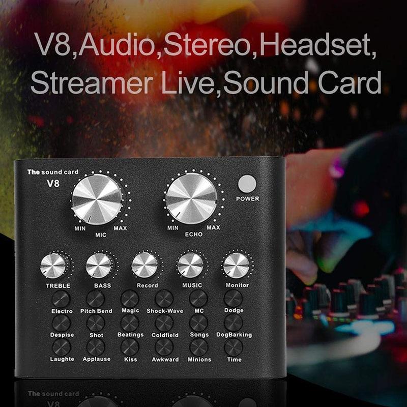 V8 Mobile Phone Desktop Sound Card DSP Chip 12 Sound Effects Eliminate Original Sound Card DJA99|Sound Cards| |  - title=