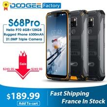 IP68 Waterproof DOOGEE S68 Pro Rugged Phone 6GB 128GB Helio P70 Cellphones 21MP+8MP 6300mAh 5.9 Inch FHD 12V/2A Smartphone