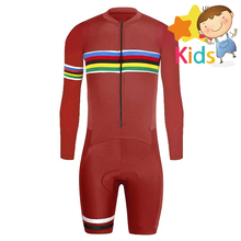 One Piece Childrens Trisuit Pro Triathlon Suit Cycling for Kids Running Bike Long Sleeve Bicycle Skinsuit