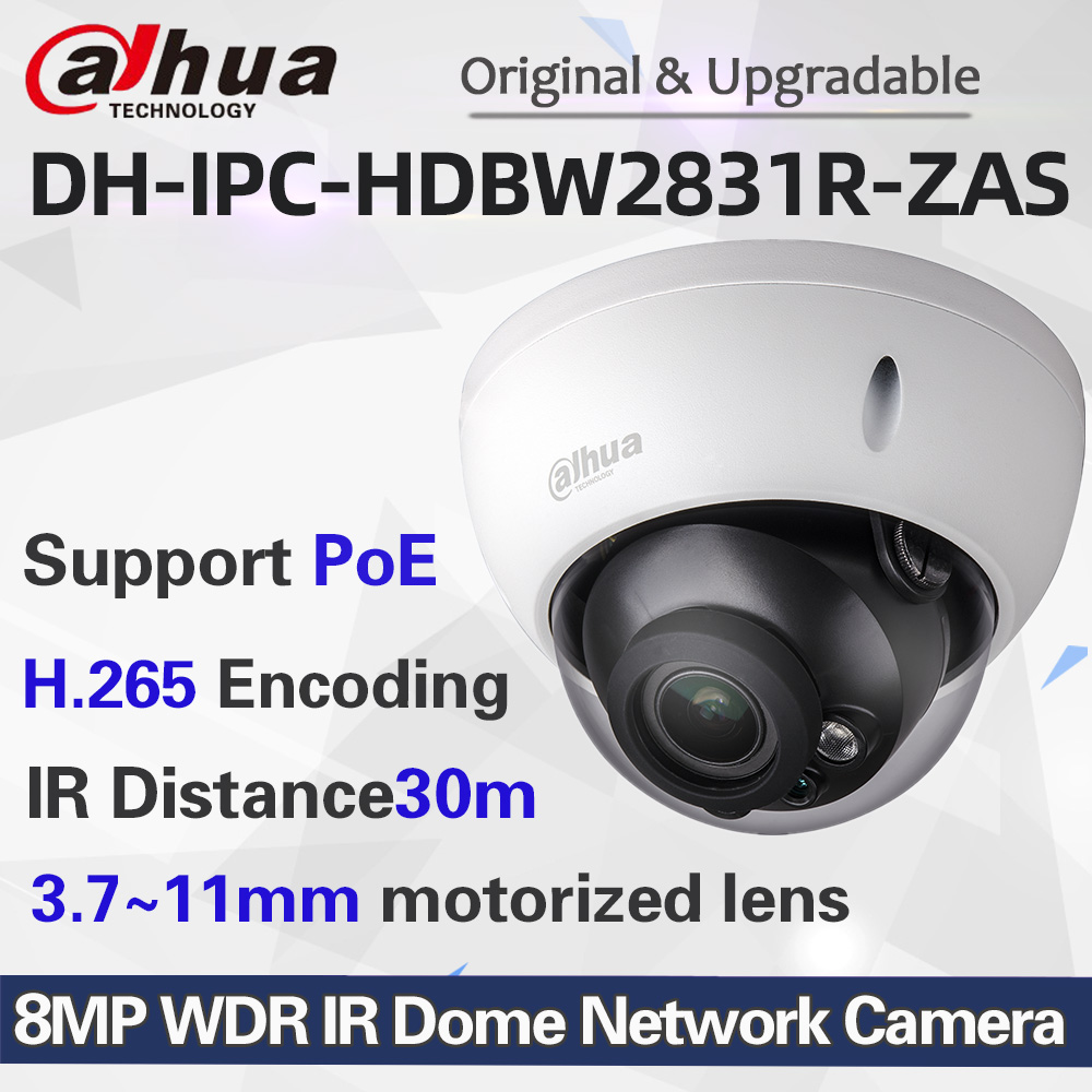 Dahua English Version 8MP POE IR Dome IP Camera IPC-HDBW2831R-ZAS Micro SD card slot up to 128GB 3.7~11mm Variable lens