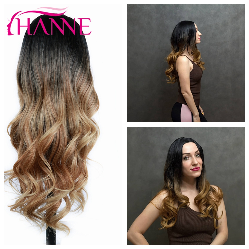 HANNE Long Synthetic Wavy Wigs Ombre Brown Blonde/Grey  Heat Resistant Fiber Hair For Black/White Women Cosplay/Party