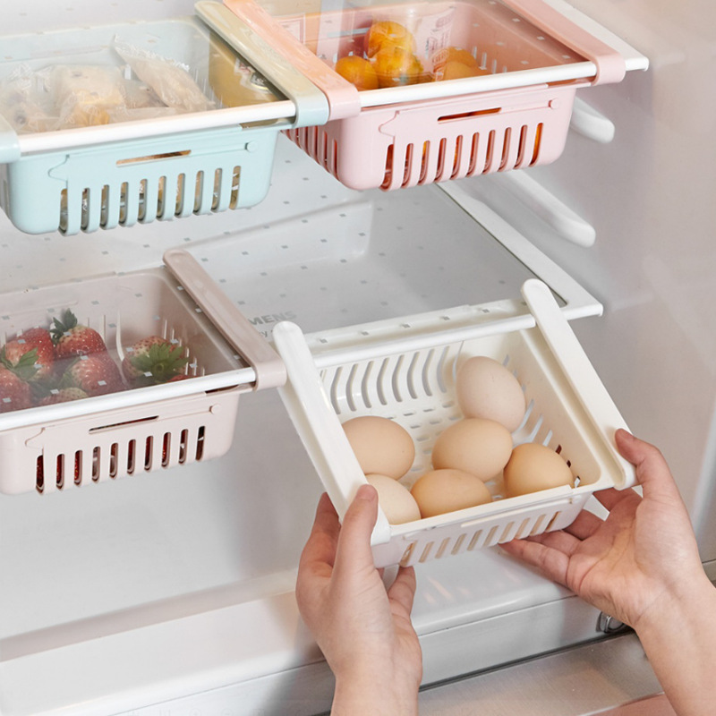 Adjustable Kitchen Organizer Refrigerator Box Pull-out Drawers Kitchen Accessories Eco Friendly Storage Rack Case Food Container