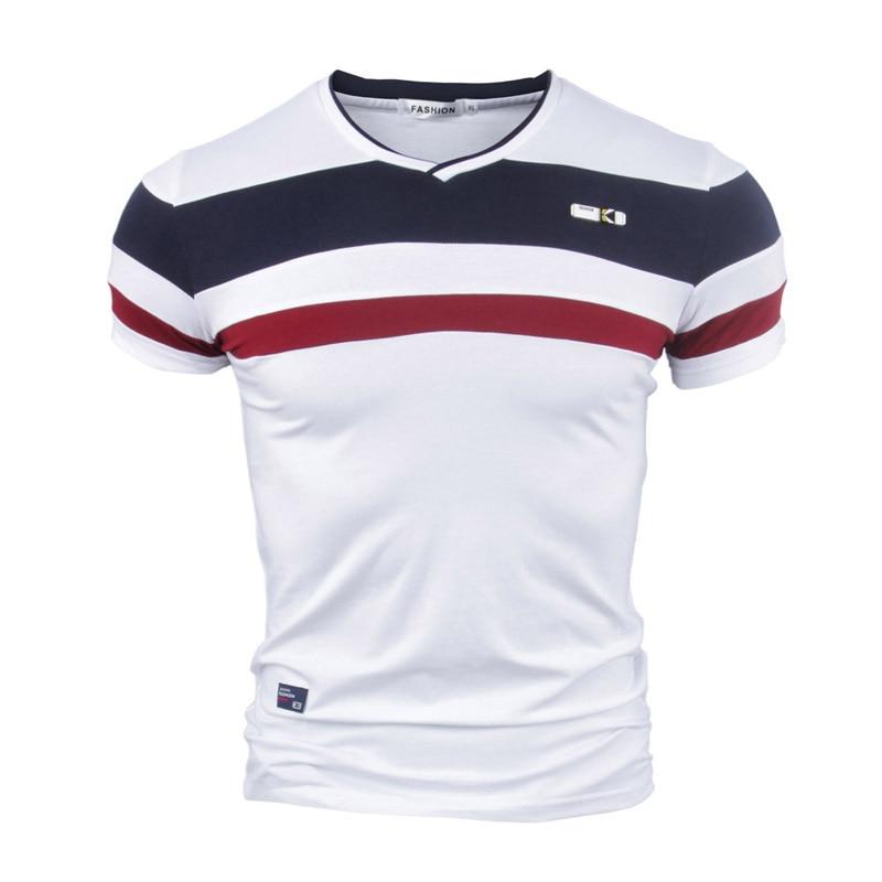 Yyfs men manga curta t camisas 2021 novo verão 100% puro algodão vintage retalhos t com decote em v algodão tshirt homme M-4XL