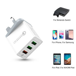 1pc Newest 3 Multi-Port USB QC 3.0 Quick Charge Hub Mains Wall Charger Adapter UK Plug For Home Travel Office Phone Accessories