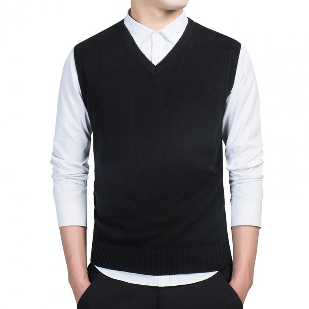 Men Autumn Winter Solid Color Sleeveless V Neck Knitted Sweater Business Vest