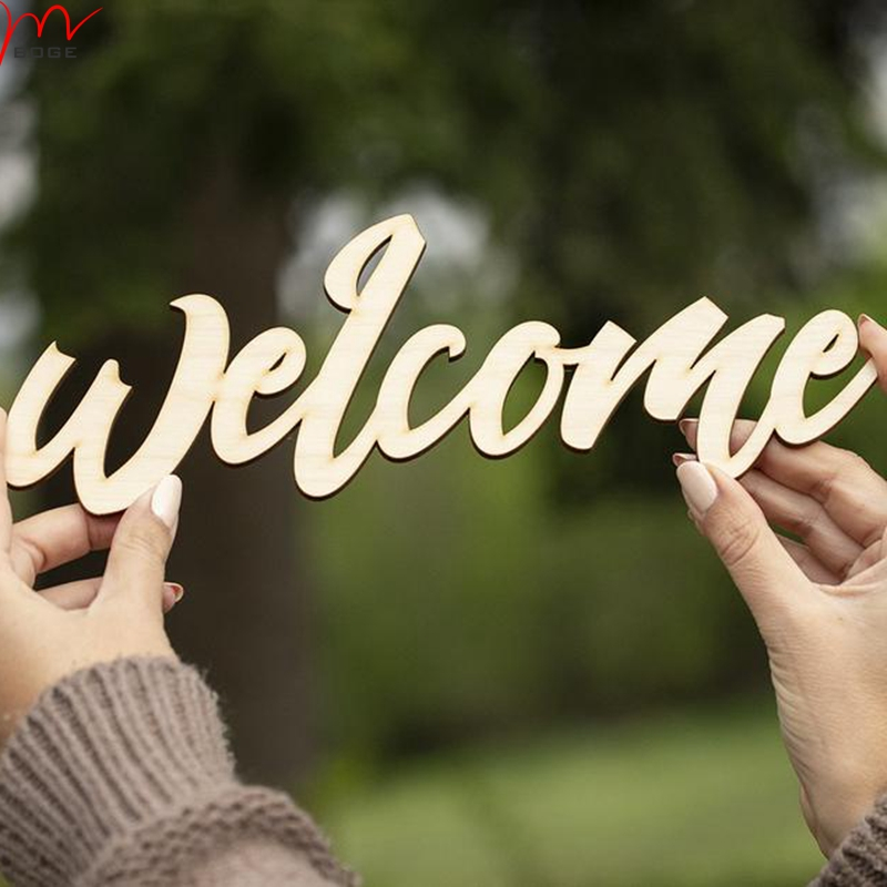 Set Of 5pcs Laser Cut Welcome Wood Sign Home Decoration Unfinished Wood For Diy 30cm Party Diy Decorations Aliexpress