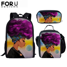 FORUDESIGNS Children Set School Bags Cartoon Black African Girls Print Canvas Kindergarten Kids Backpack Mochila Escolar