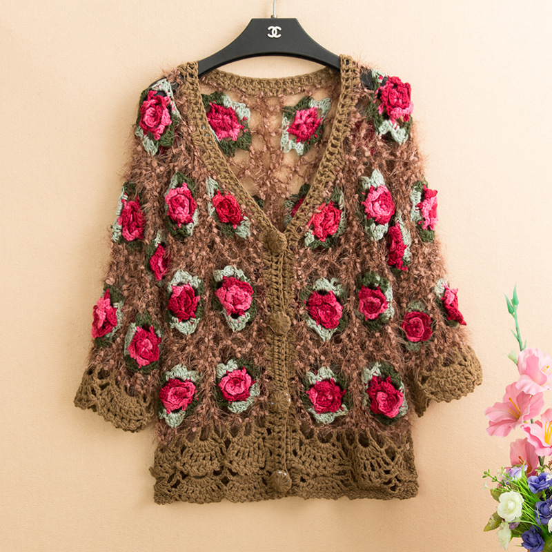 3D Flower Women Cardigans Mohair Women Crochet Cardigans Femme Rose Flower Sweaters Knitted Tops