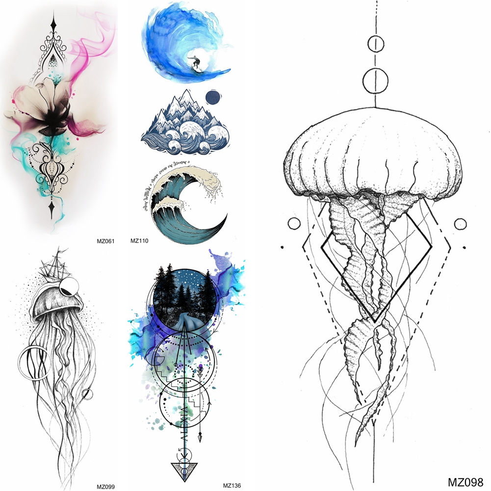 3d Jellyfish Temporary Tattoos Sticker For Women Men Body Art Drawing Arm Legs Tattoos Fake Wave Anchor Waterproof Tatoo Sticker Temporary Tattoos Aliexpress