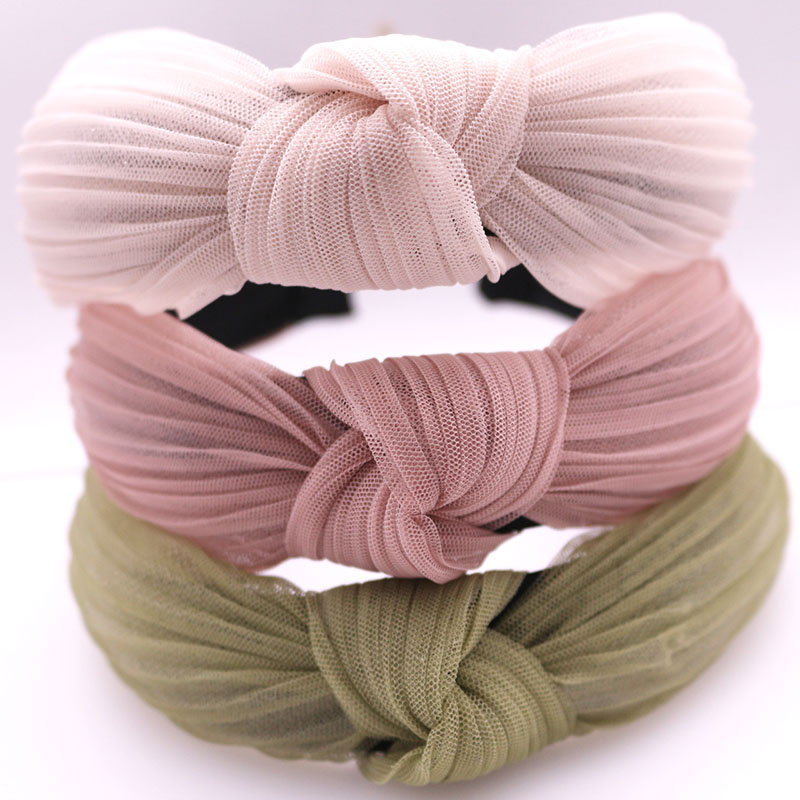 Spring Summer Yarn Lace Knotted Headband Center Knot Cross Hairband Vintage Hair Accessories