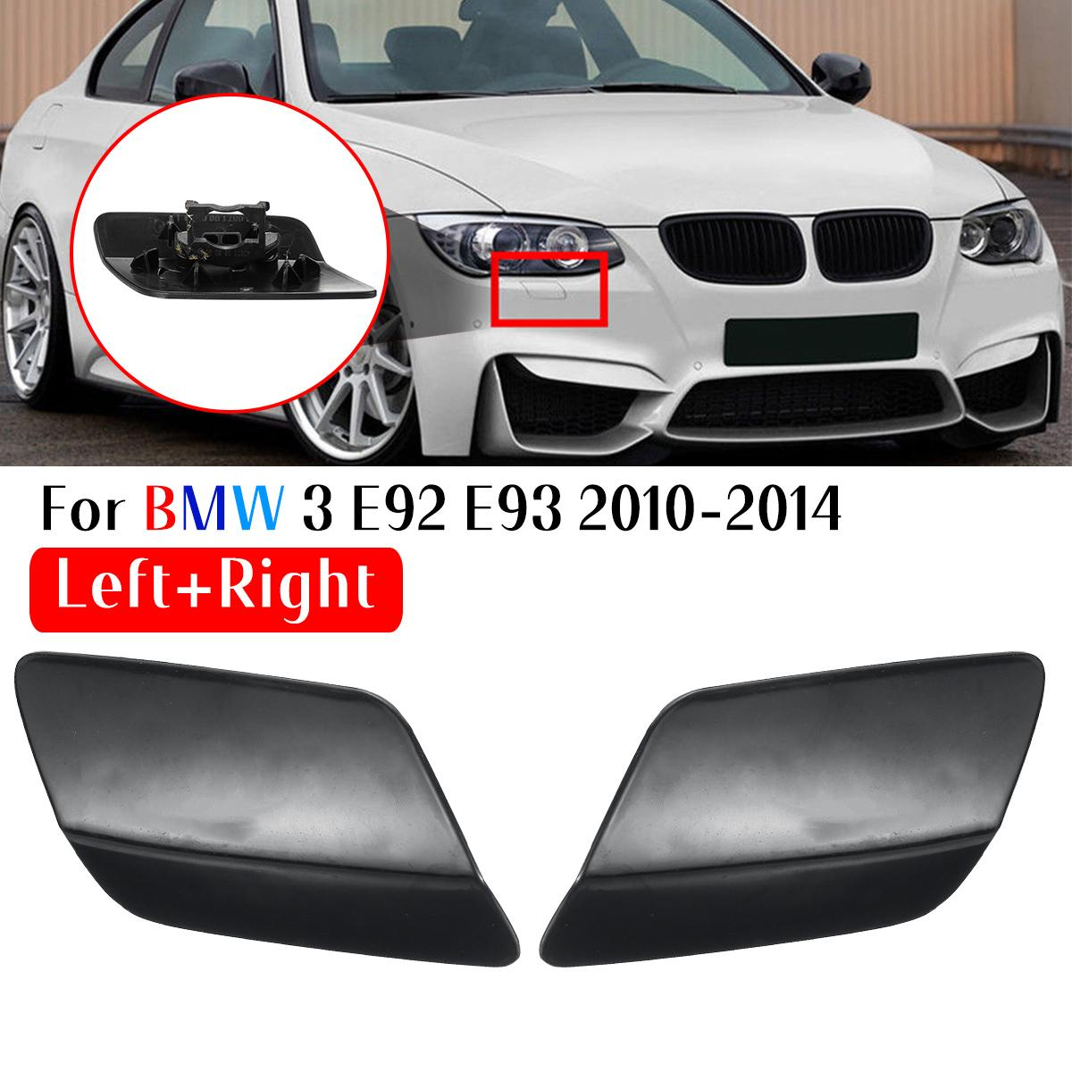 1 Pair Left/Right Black Bumper Headlight Washer Jet Cover Cap For Bmw 3 E92 E93 2010 2011 2012 2013 2014 Coupe Convertible