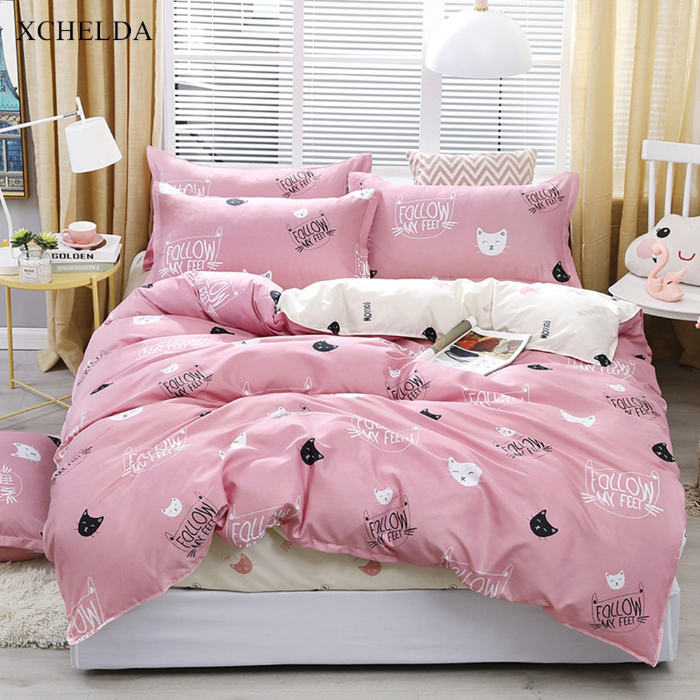 bedding set family double queen twin cute pink white cat bedspread girl single bed sheet pillowcase 4pcs duvet cover set