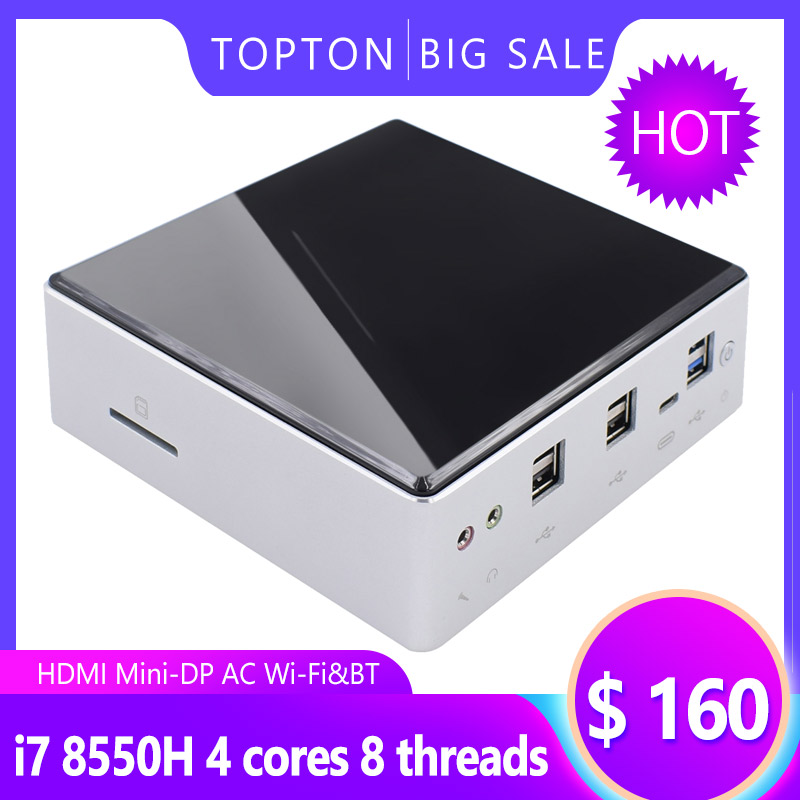 Topton Smart Tiny Case Mini PC 8th Gen Intel I7 8550U 2xSODIMM DDR4 Max 32GB RAM M.2 NGFF/NVME SSD Type-C DP HDMI Pocket PC