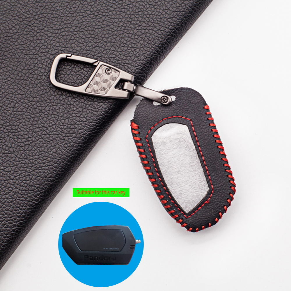 Fashion Leather Key Case Protector Cover Keychain for Pandora DXL 4950 DX-90BT DX-91 DX9X LCD Two Way Car Alarm Remote Control image