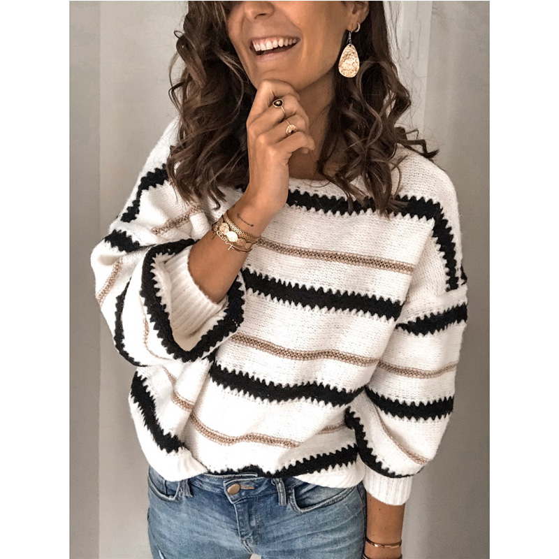Meihuida Autumn Winter Womens Casual O-neck Lone Sleeve Striped Loose Warm Soft Knitted Sweaters Pullover