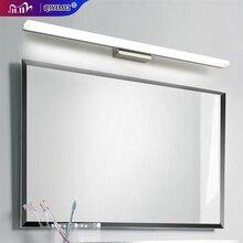 Led מראה אור נירוסטה AC85 265V מודרני קיר מנורת חדר אמבטיה אורות 40cm 60cm 80cm 100cm 120cm פמוטים קיר apliques