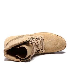 Image 4 - Professionele Militaire Laarzen Voor Mannen Speciale Kracht Lederen Desert Combat Laarzen Heren Outdoor Waterdichte Leger Enkellaarsjes
