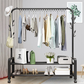 Double Pole Clothes Rack Floor Coat Rack Bedroom Drying Rack Simple Clothes Rail Folding Indoor Balcony Clothes Rack Hanger