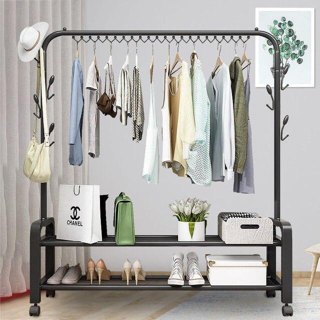 Double Pole Clothes Rack Floor Coat Rack Bedroom Drying Rack Simple Clothes Rail Folding Indoor Balcony Clothes Rack Hanger